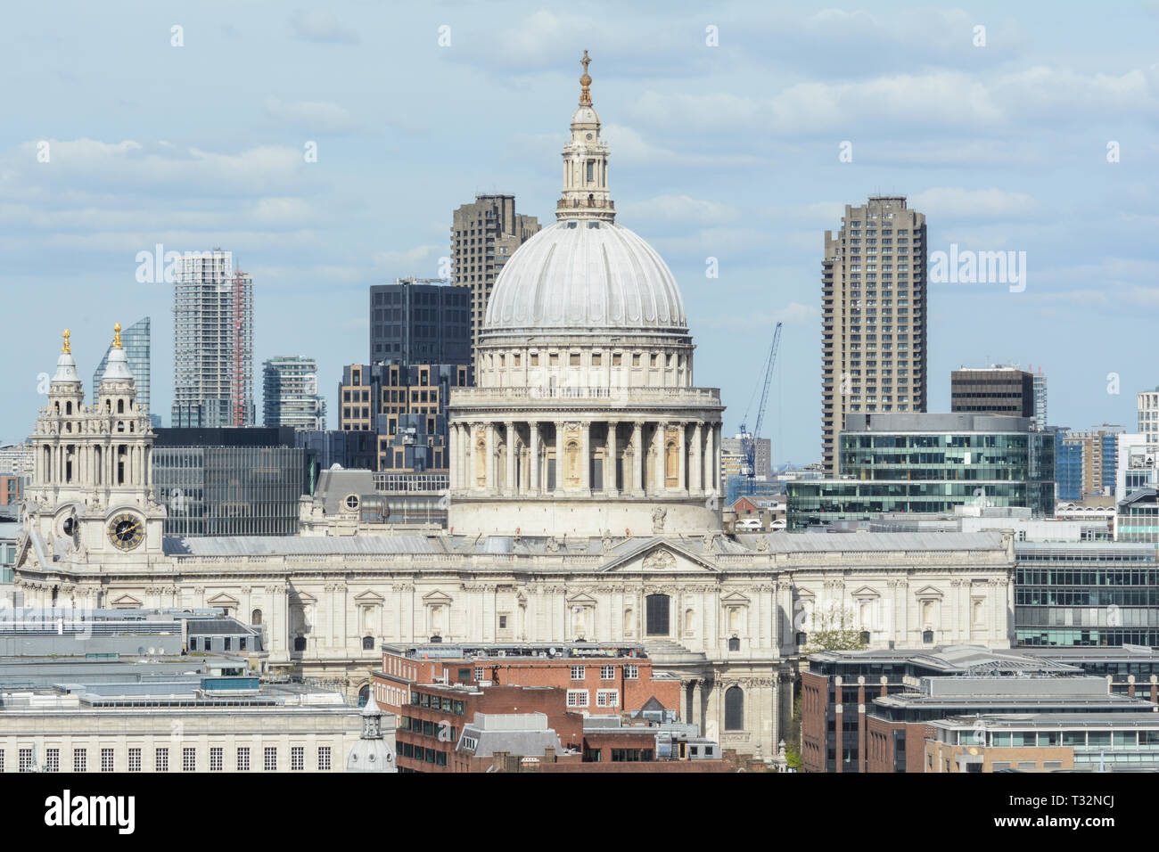 St Paul's Cathedral and the City of London skyline, London, UK - Stock Image