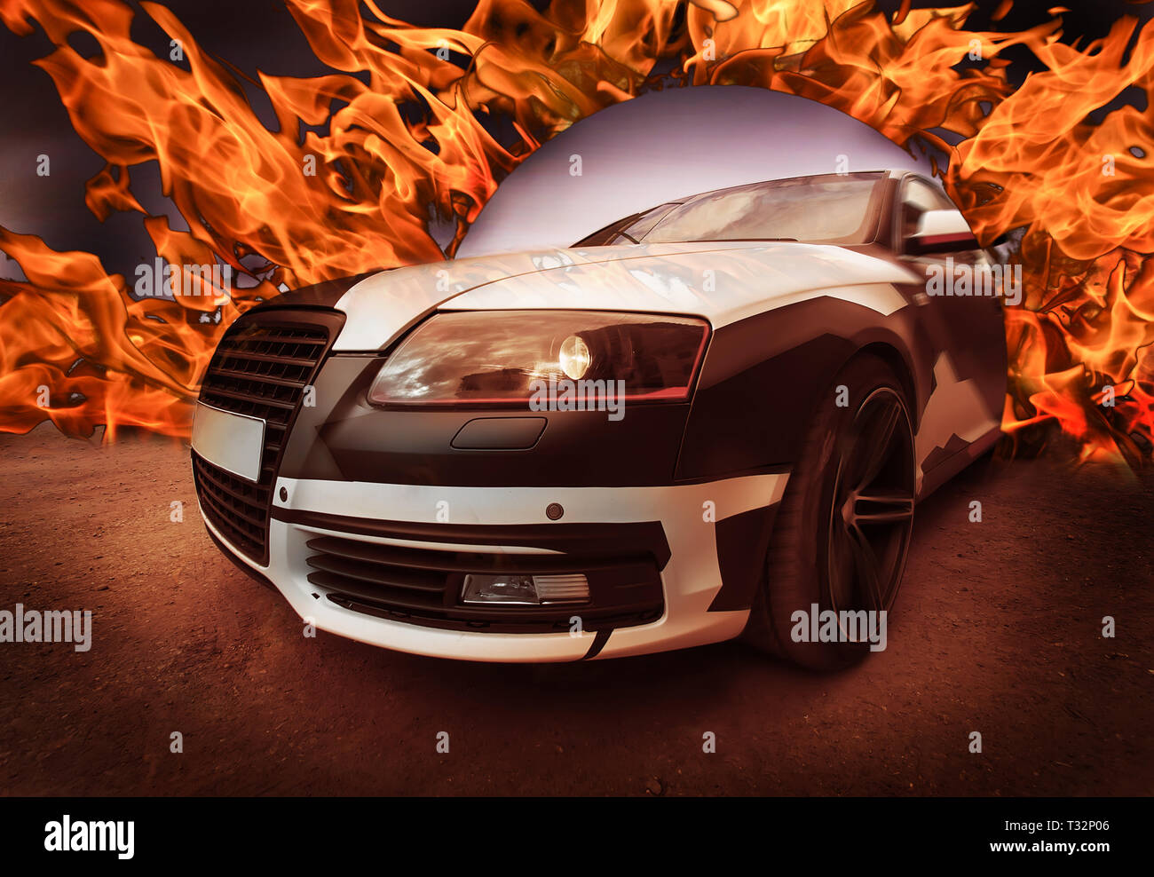 Sports car goes from Ring of Fire. Concept. Close-up - Stock Image