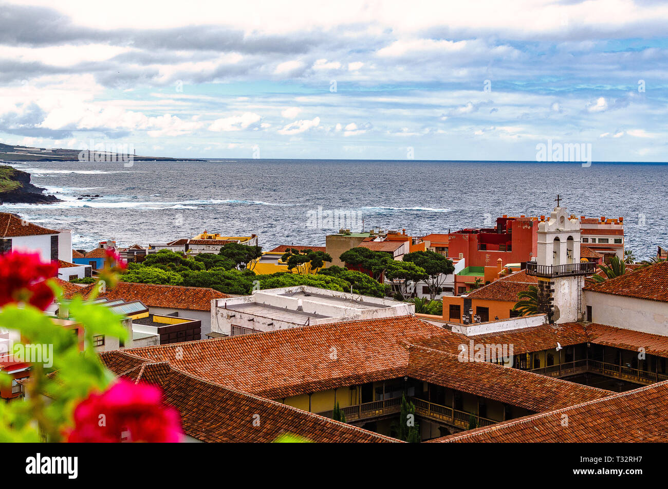 Garachico, Spain, 02/03/2015 - In the middle of the lively village, in the narrow Calle Estéban de Ponte, is the Franciscan Convent of San Francisco,  - Stock Image