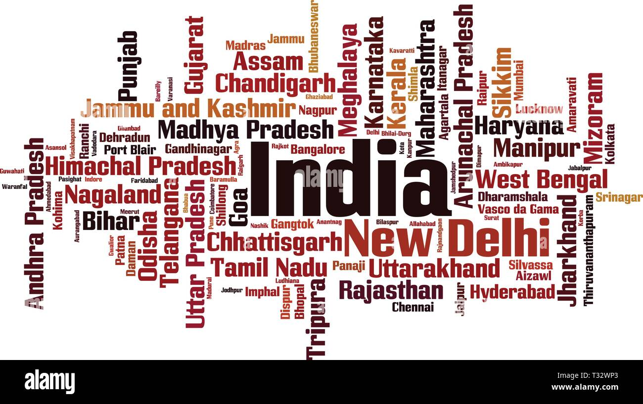 Cities in India word cloud concept. Vector illustration - Stock Vector