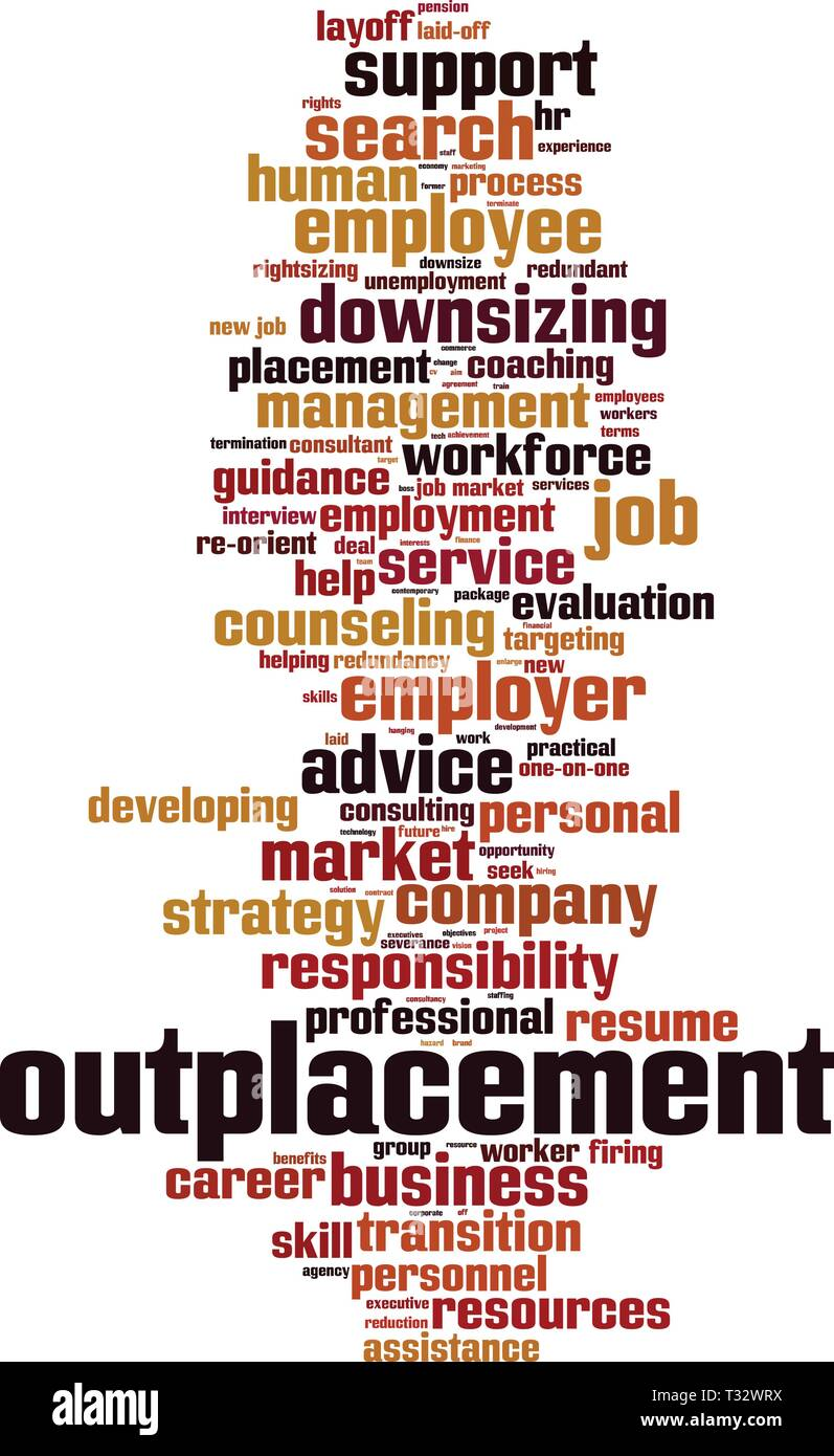 Outplacement cloud concept. Collage made of words about outplacement. Vector illustration - Stock Image