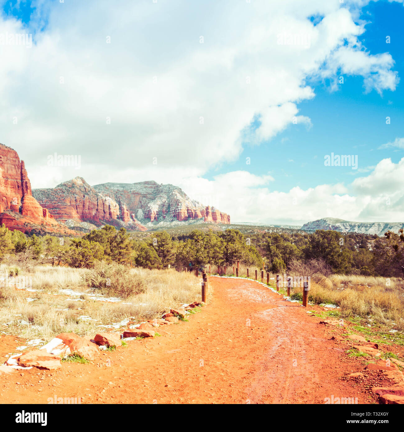 The red rock mountains of Arizona with a red dirt trail leading the viewer to the distant mountains.  The bright puffy clouds and blue sky of the wild - Stock Image