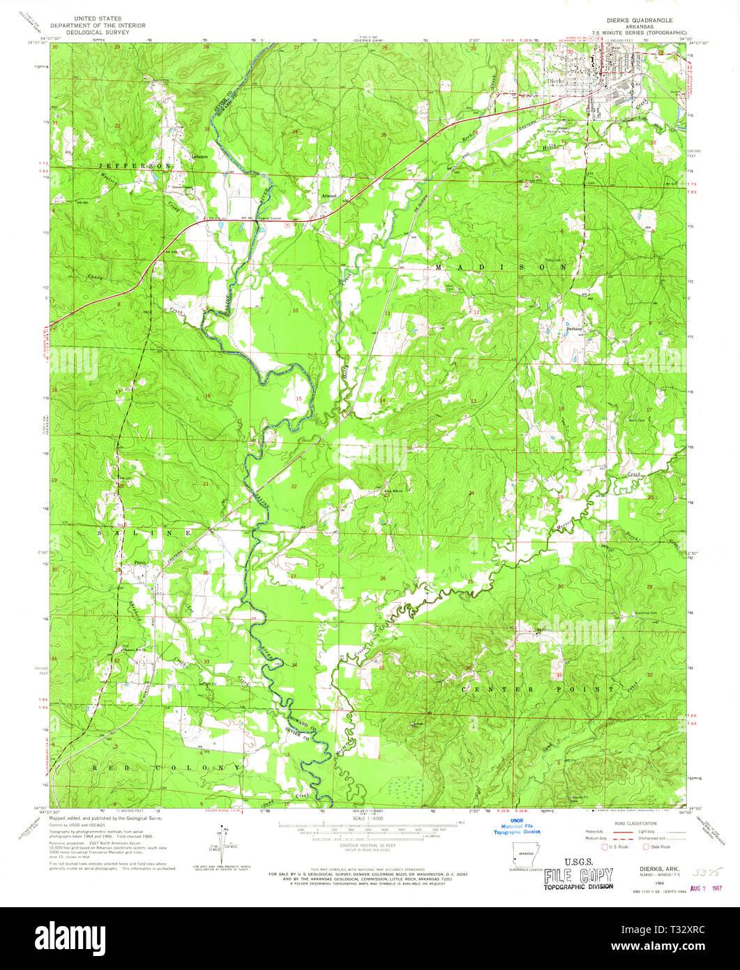 USGS TOPO Map Arkansas AR Dierks 258341 1966 24000 ...