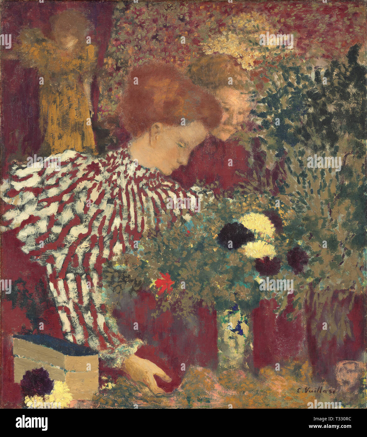 Edouard Vuillard (French, 1868 - 1940), Woman in a Striped Dress, 1895, oil on canvas - Stock Image