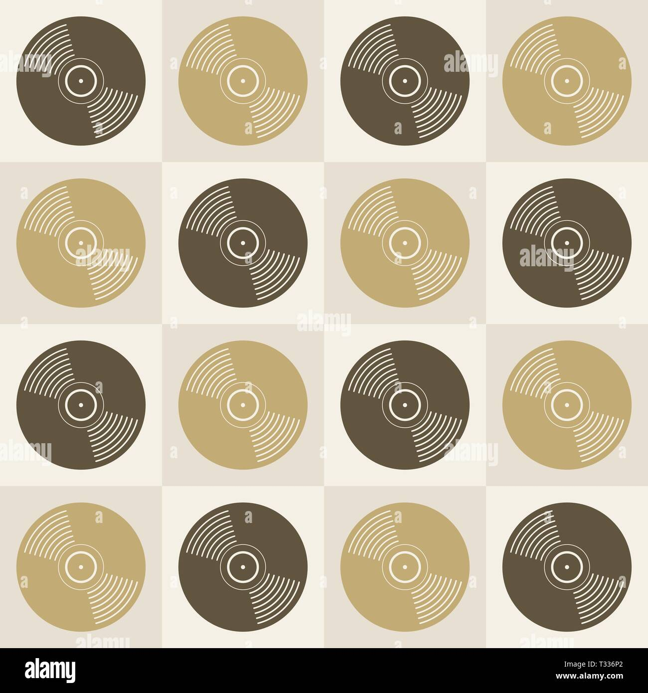 Vinyl Records Seamless Pattern Music Endless Background Creative