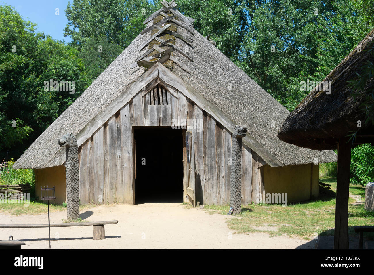 Eindhoven, Netherlands  - June 30, 2018  a prehistoric House from the iron age in the prehistoric village Eindhoven The netherlands Stock Photo