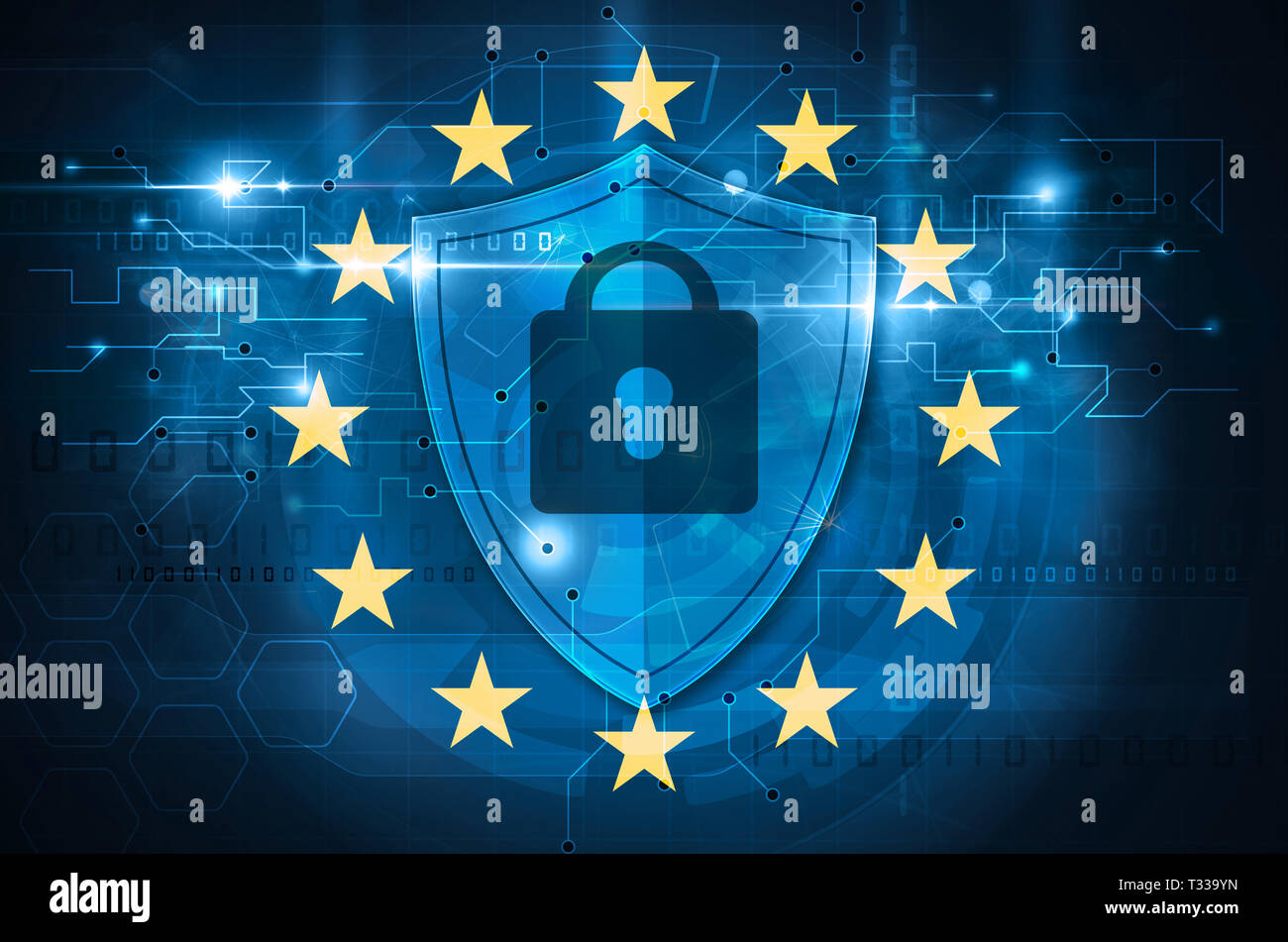 european union digital security concept - Stock Image