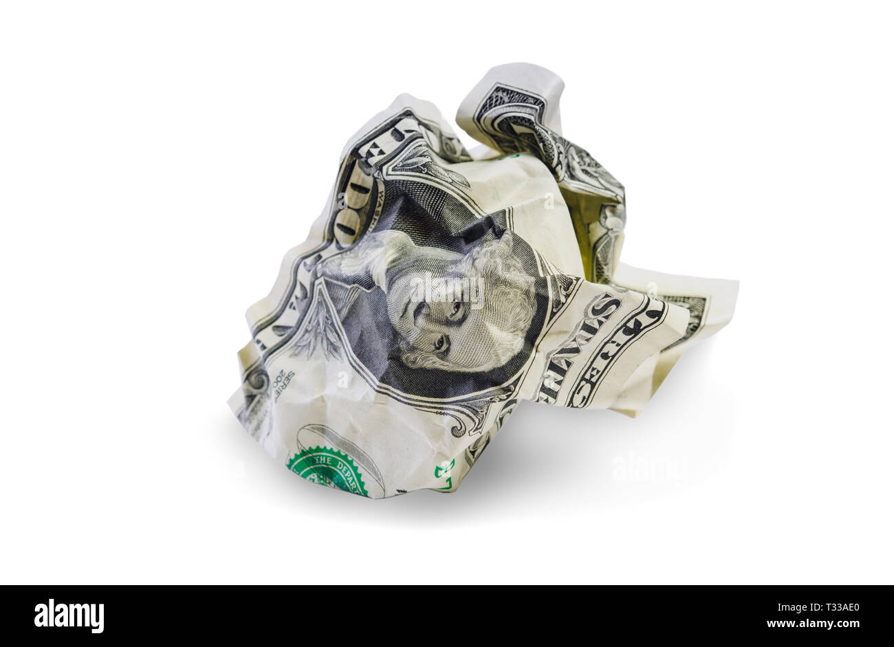 One crumpled dollar isolated on white background. Clipping path included Stock Photo