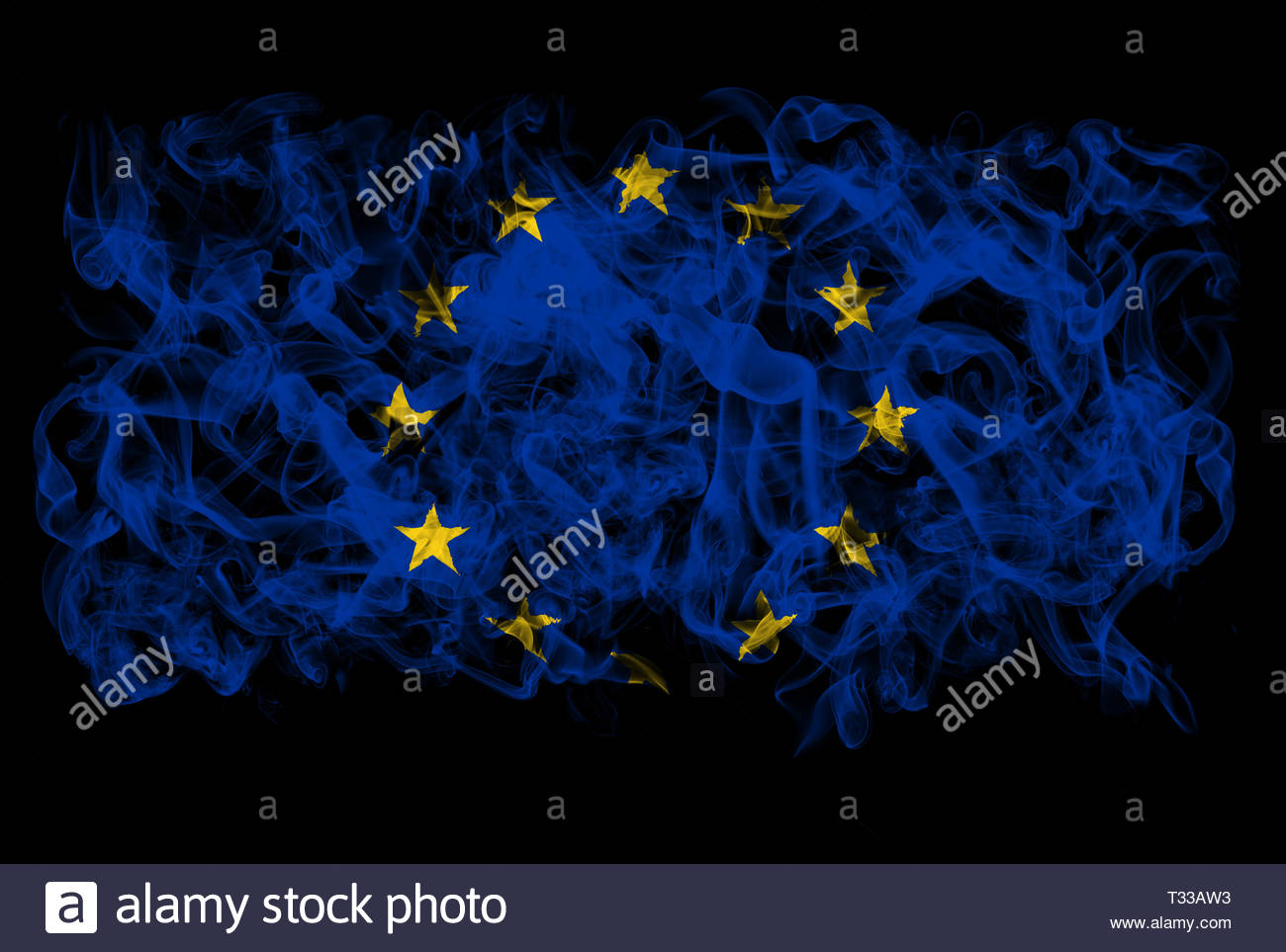 Smoking flag of European Union - Stock Image