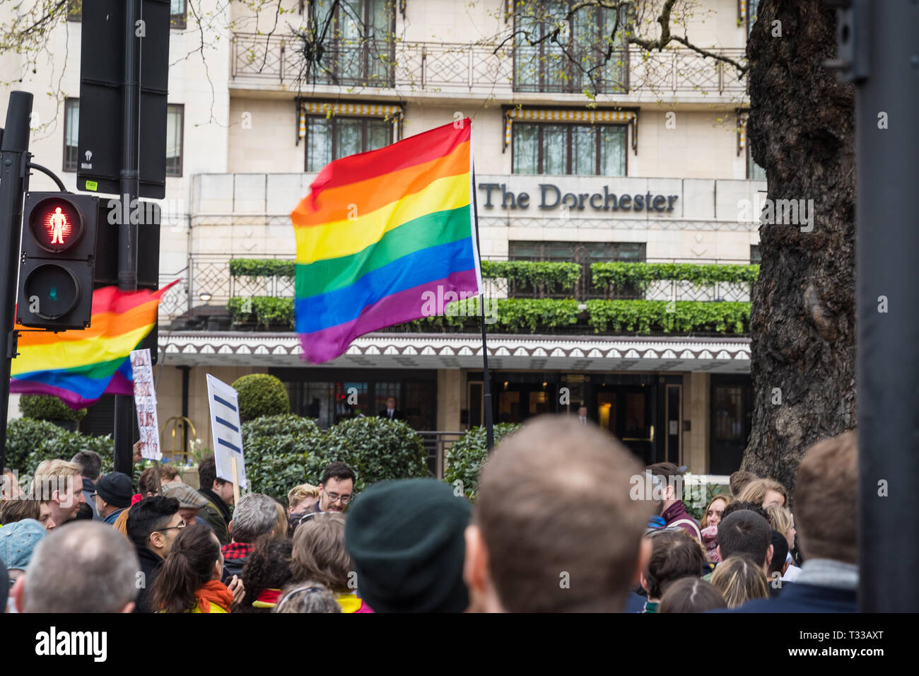 Protest outside The Dorchester hotel in London against the new Brunei anti-gay laws - 6 Apr 2019 - Stock Image