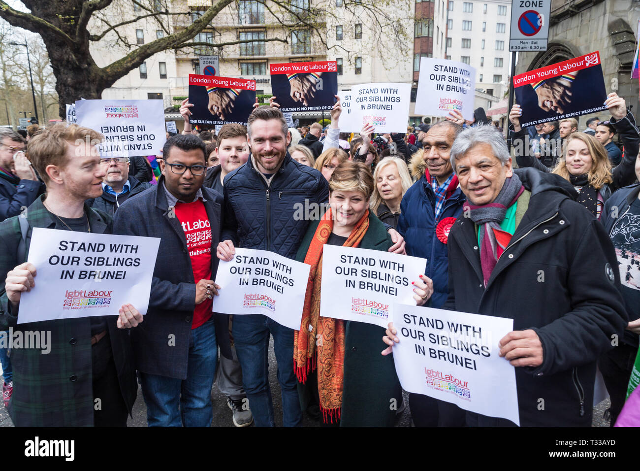 Emily Thornberry, Shadow Foreign Secretary, speaking at the protest outside The Dorchester hotel in London against the new Brunei anti-gay laws - Stock Image