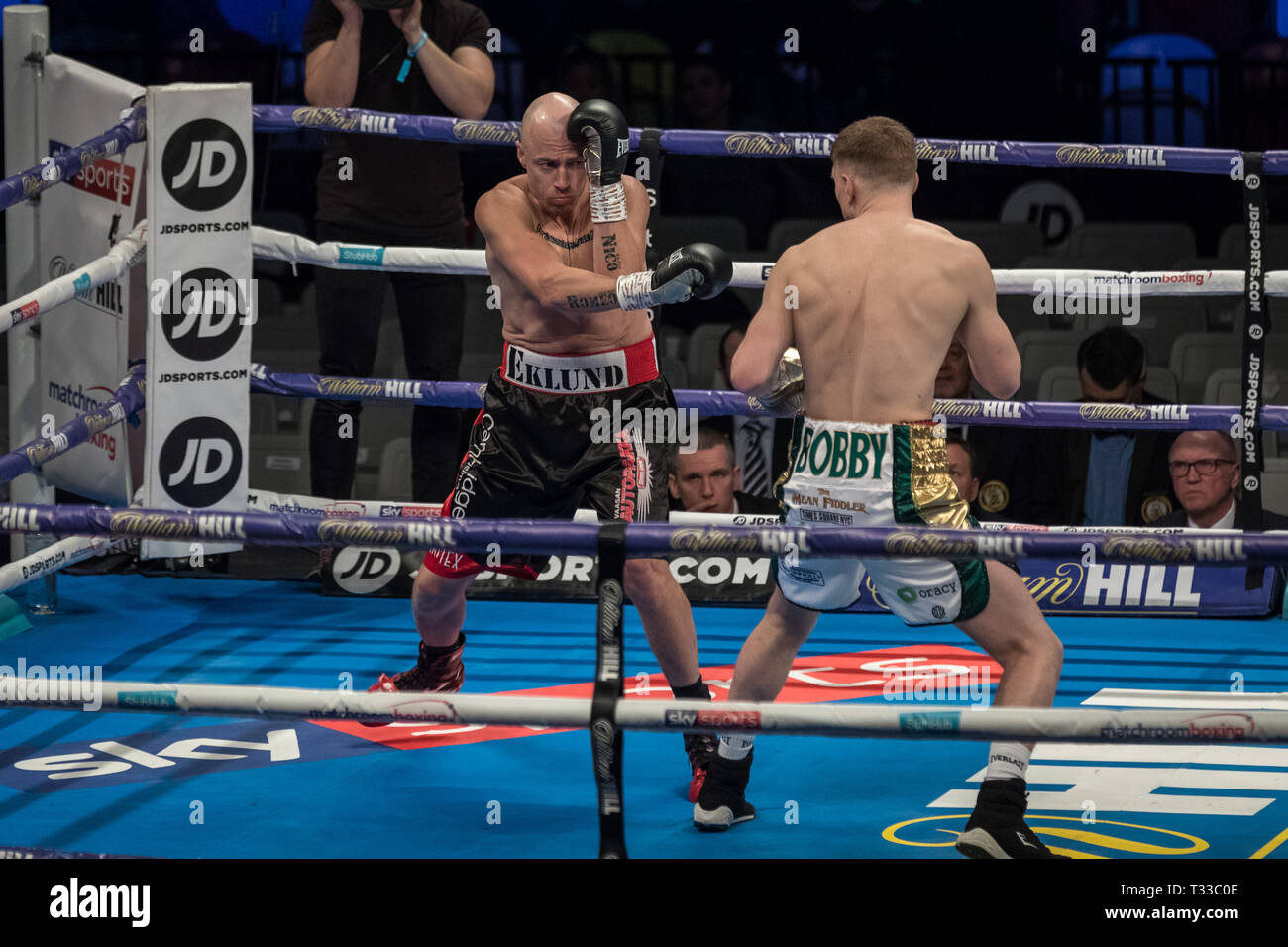 Jason Quigley vs Mathias Eklund. Quigley wins the Middleweight fight 2nd round TKO at the Copper Box Arena. - Stock Image