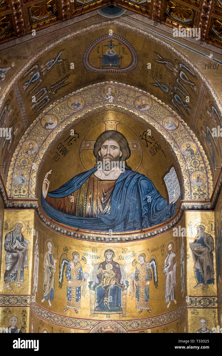 Famous mosaics and Jesus Christ Pantocrator at cathedral Basilica Cattedrale Parrocchia Santa Maria Nuova in Monreale, Sicily, Italy Stock Photo