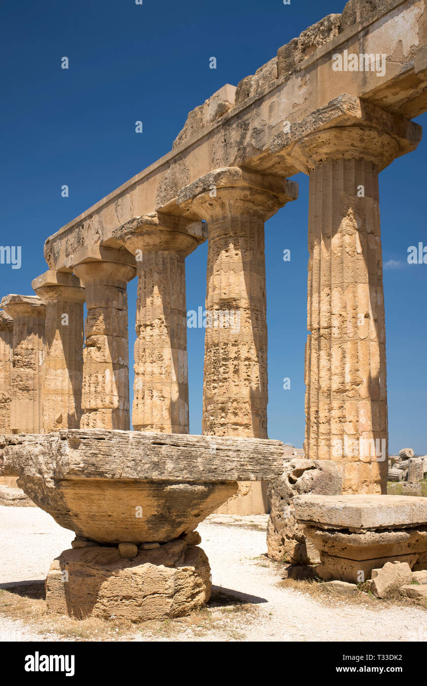 Ruins of ancient temples at Selinunte in Sicily, Italy - the largest archeological park in Europe. Stock Photo