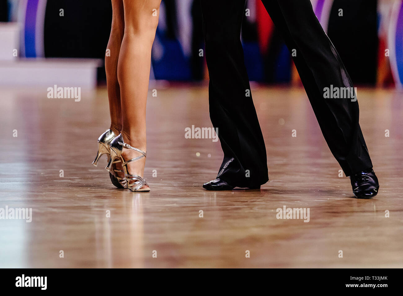 Woman Dancer Feet Stand On Tiptoe And Man In Black Pants Stock Photo Alamy