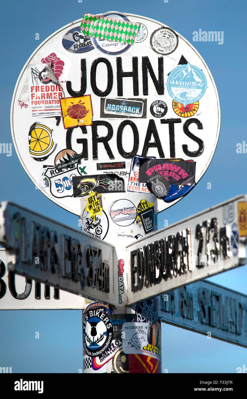 John O'Groats sign Stock Photo