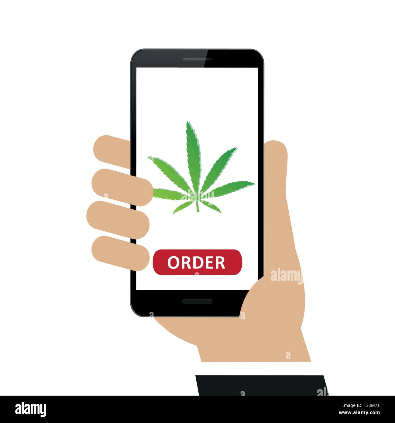 person ordered cannabis online via smartphone isolated on white background vector illustration EPS10 - Stock Vector