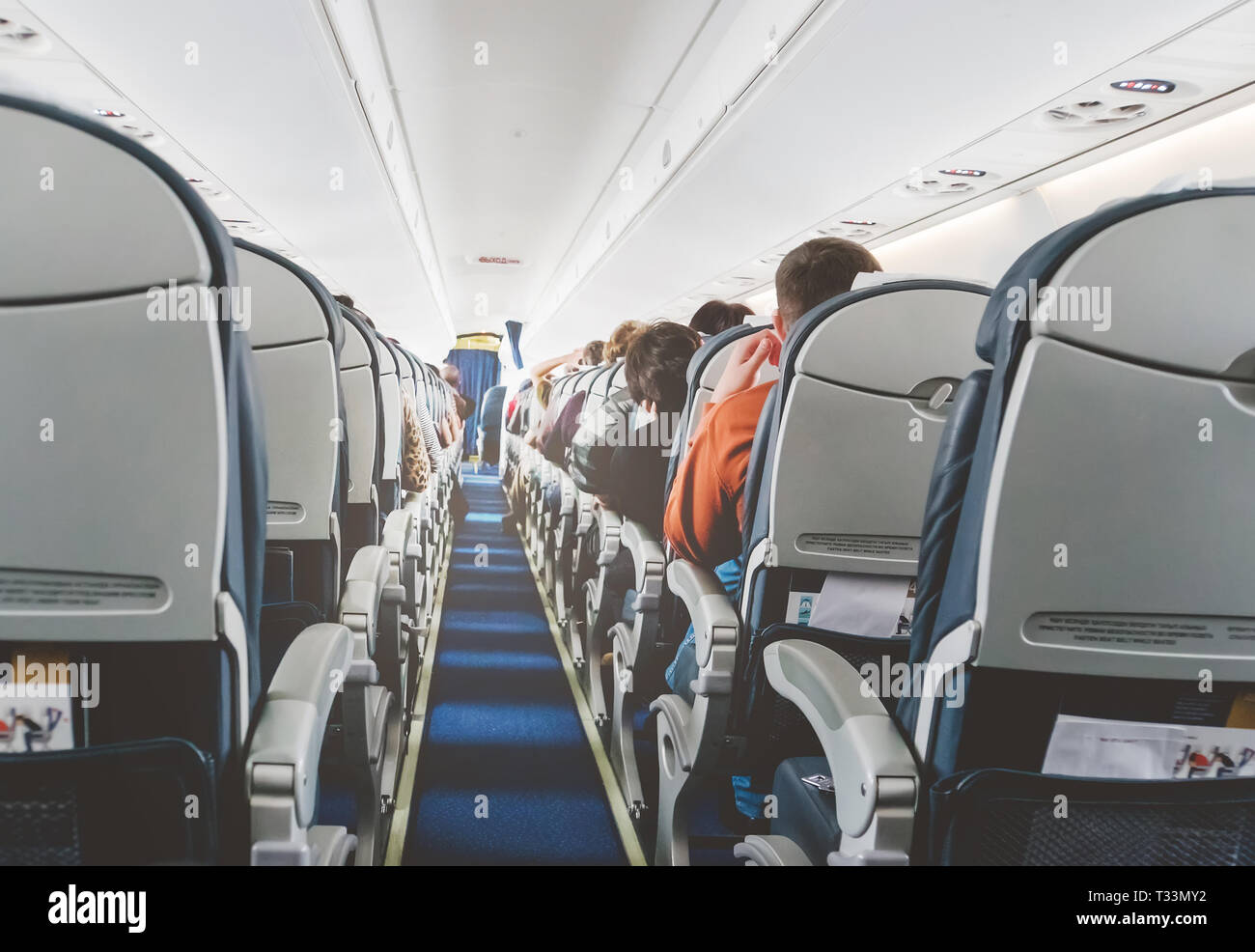 Empty Economy Seats On Aeroplane Stock Photos Amp Empty