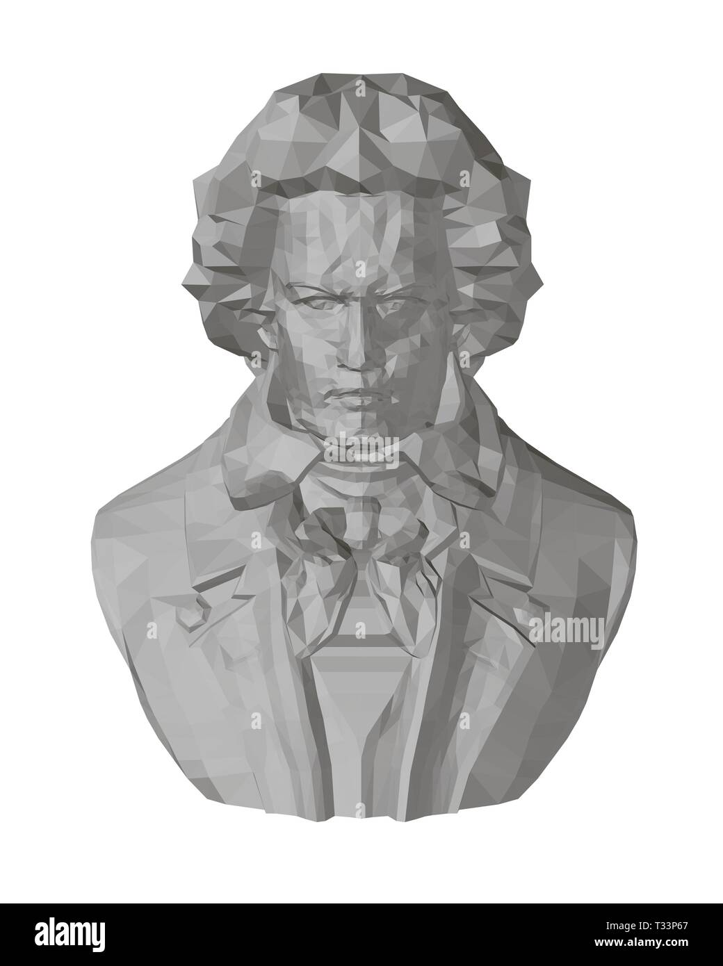 Bust of Beethoven. Polygonal bust of Beethoven 3D. Front view. Beethoven sculpture. Vector illustration - Stock Image