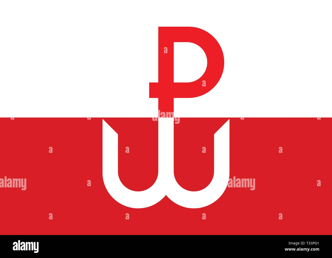 Kotwica, the symbol and emblem of Polish Underground State and Warsaw Uprising during World War II. The Uprising started on August 1st, 1944. Stock Vector
