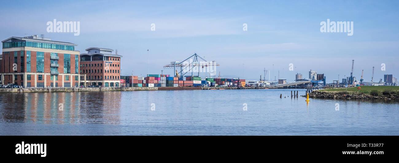 Belfast Harbour and the Titanic Quarter of Belfast in Northern Ireland - Stock Image