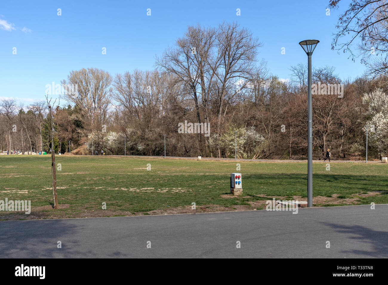 SOFIA, BULGARIA - MARCH 27, 2019: Amazing Spring landscape of South Park in city of Sofia, Bulgaria - Stock Image
