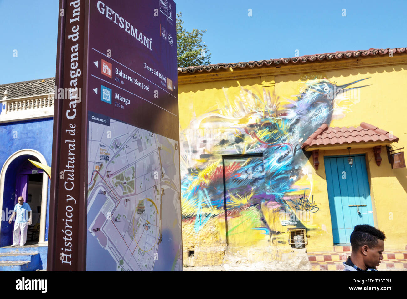Cartagena Colombia Old Walled City Center centre Getsemani sign information neighborhood map directions wall mural - Stock Image