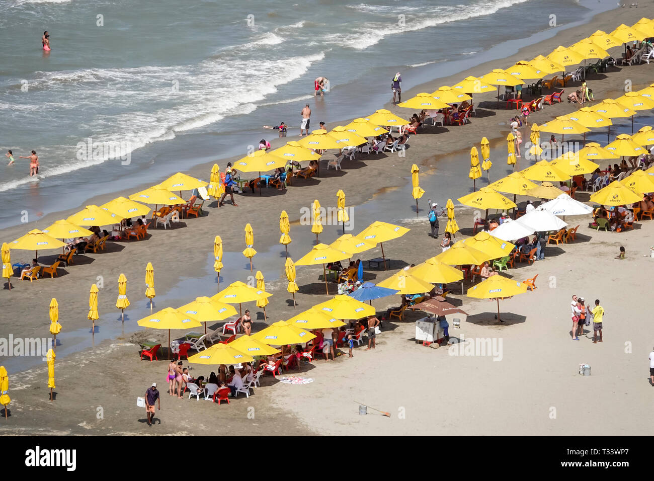 Cartagena Colombia Bocagrande Caribbean Sea public beach sand water rental umbrellas Hispanic resident residents sunbathers - Stock Image