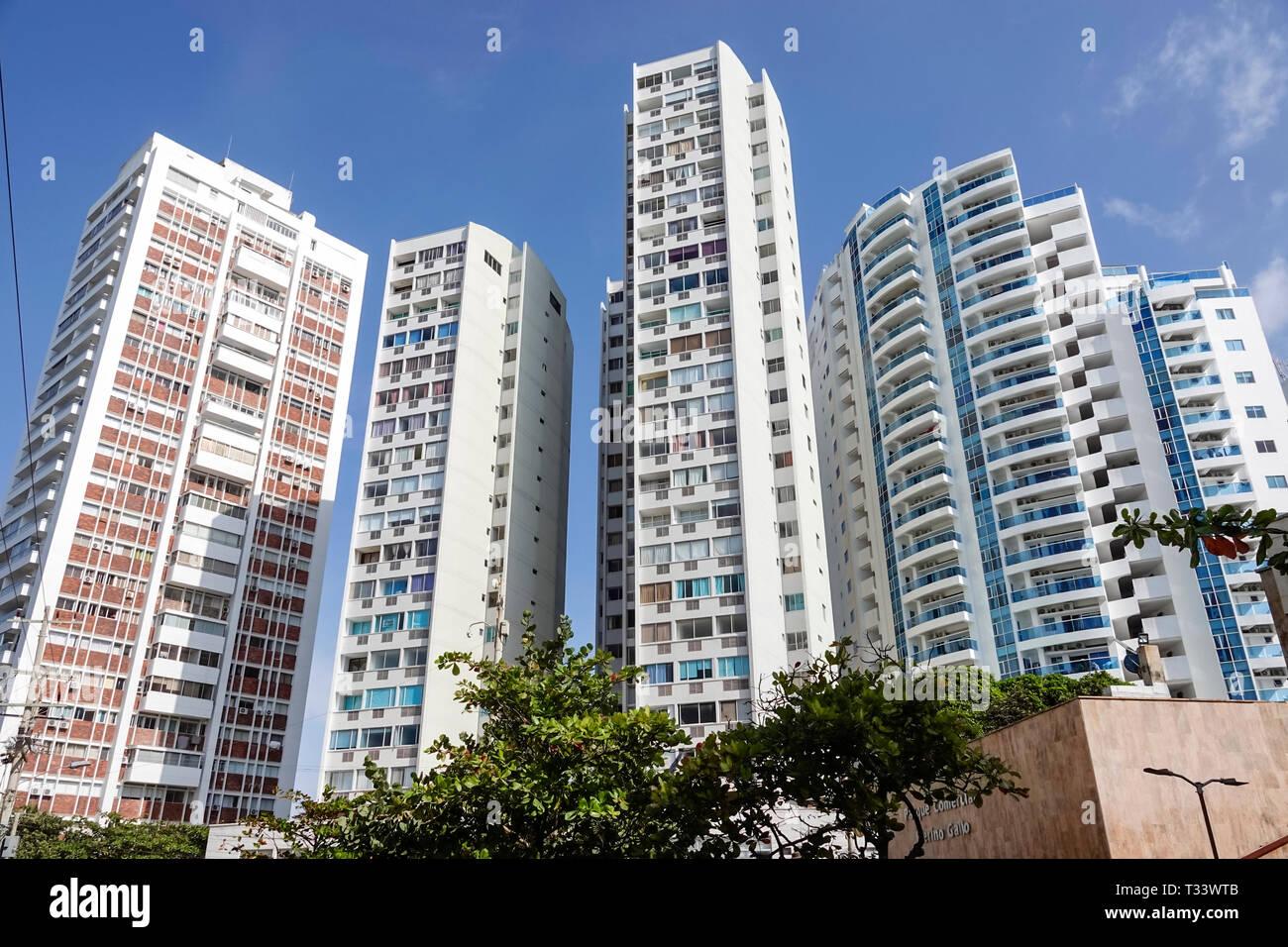 Cartagena Colombia El Lagito high rise apartment condominium buildings high density residential neighborhood modern architecture - Stock Image