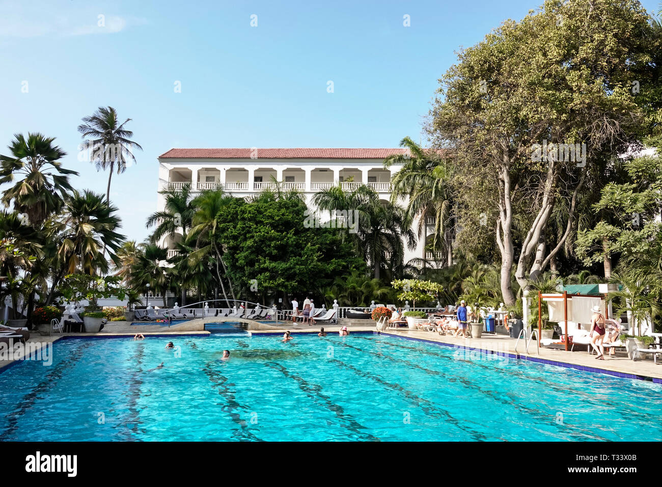 Cartagena Colombia Bocagrande Hotel Caribe hotel swimming pool area upscale luxury guest - Stock Image