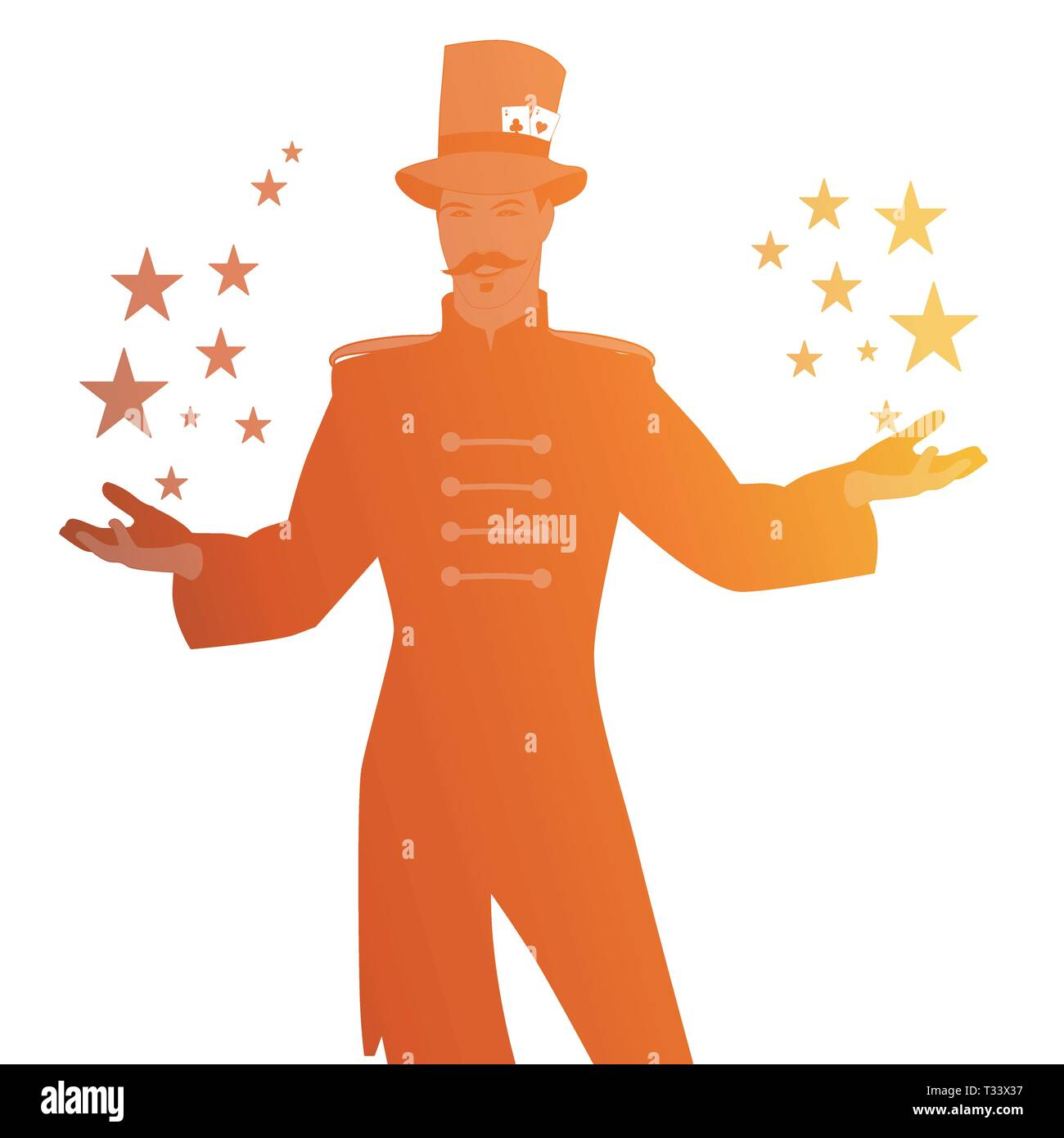 Silhouettes of master of ceremonies with mustache, wearing top hat adorned with playing cards, showing stars in his hands, isolated on white backgroun - Stock Image
