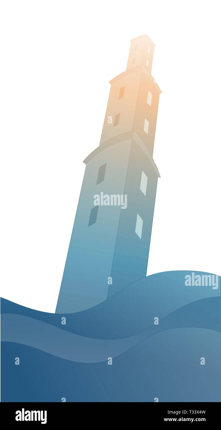 Silhouette of large tower over raging sea, under the storm and hurt by lightning, isolated on white background Stock Vector