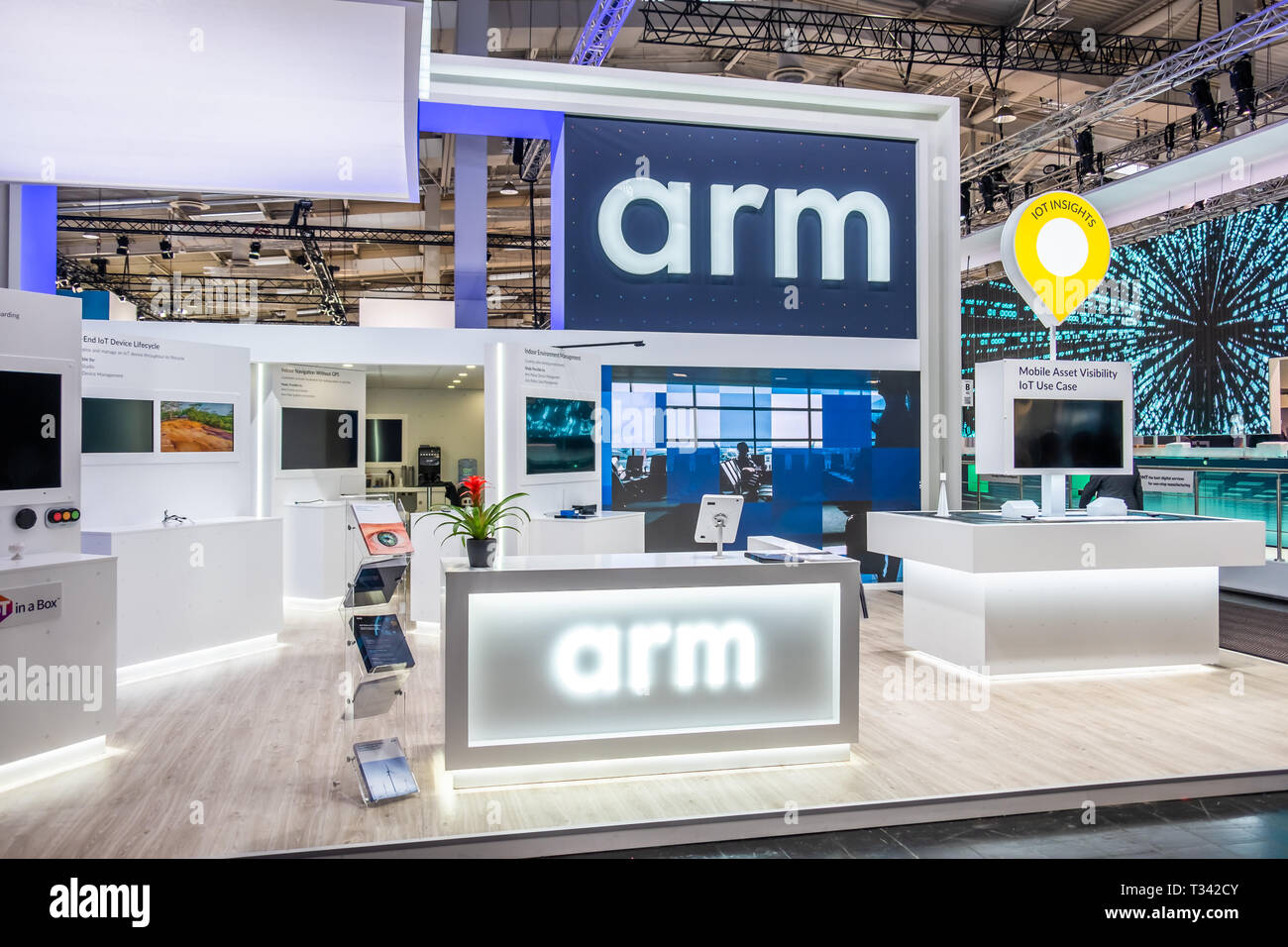 HANNOVER / GERMANY - APRIL 02 2019 : Arm is displaying new innovations at the Hannover Messe. - Stock Image