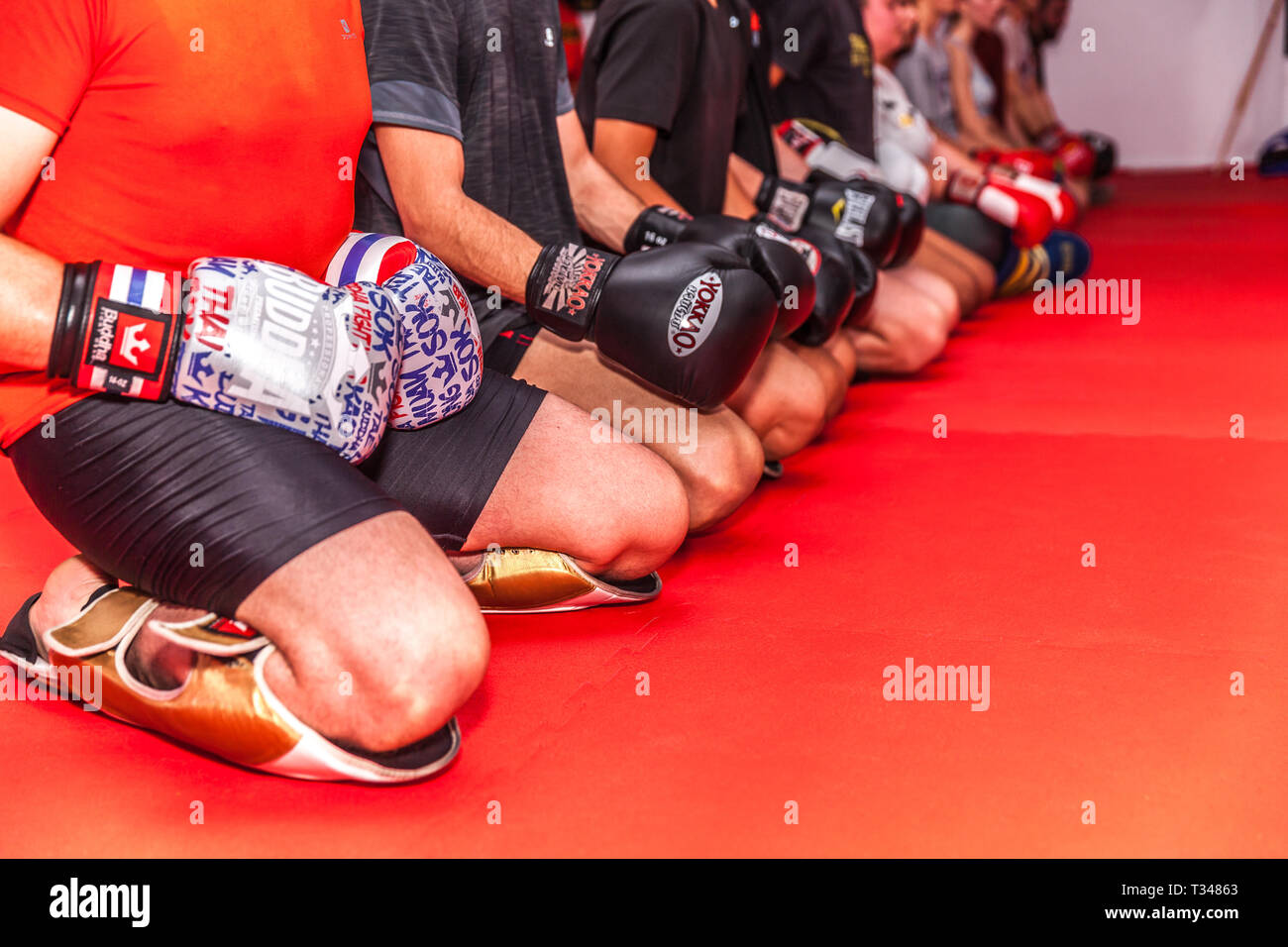 kick boxing training in a gym Stock Photo