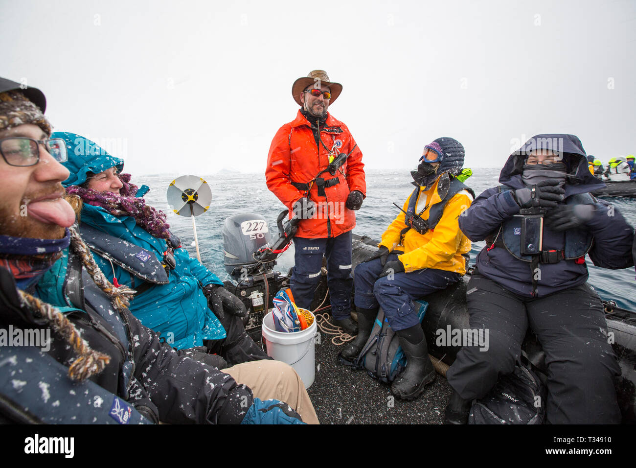 Alison Lee Cusick a scientist working on citizen science on an Antarctic cruise ship with passengers on a zodiac Stock Photo