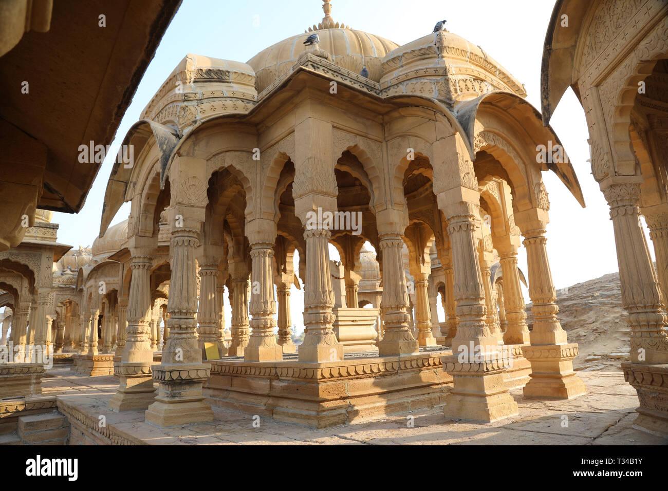 Bada Bagh, Jaisalmer, Rajasthan, India --- Cenotaphs old burial site of the rulers of jaisalmer Desert - Stock Image