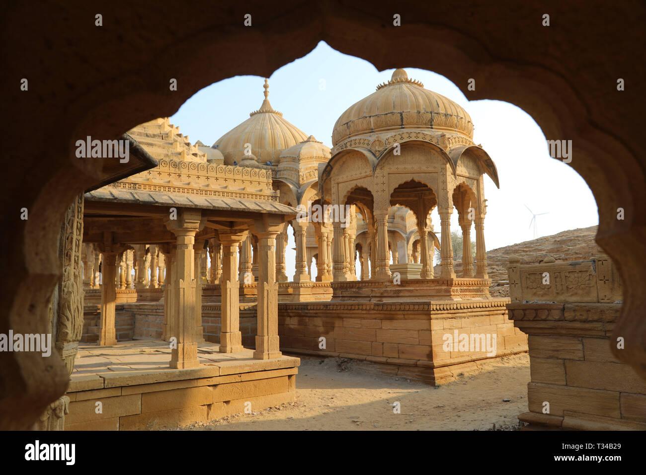 Bada Bagh, Jaisalmer, Rajasthan, India --- Cenotaphs old burial site of the rulers of jaisalmer Desert Stock Photo