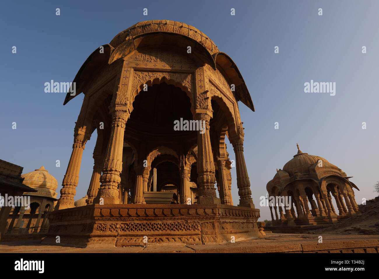 Bada Bagh, Jaisalmer, Rajasthan, India --- Cenotaphs old burial site of the rulers of jaisalmer Desert - Stock Image