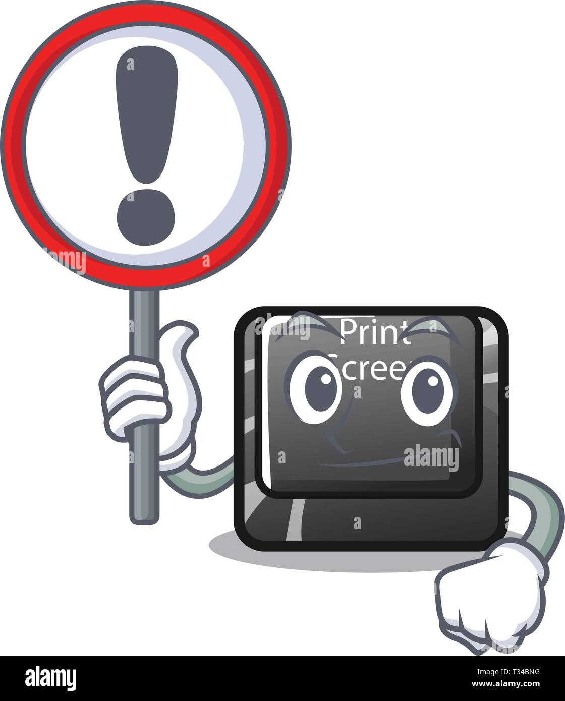 With sign button print screen the computer character - Stock Image
