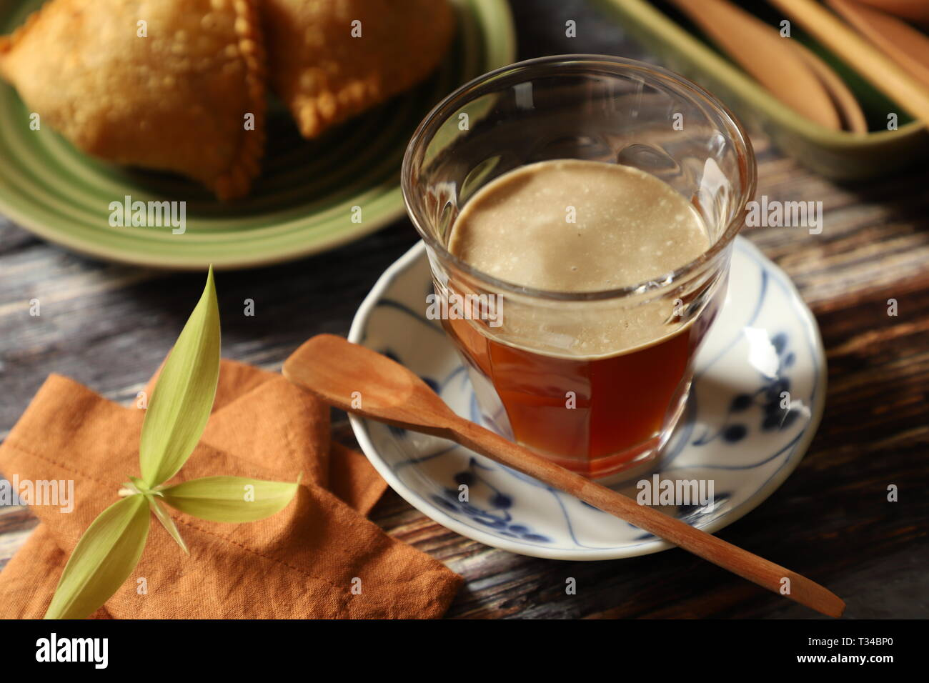 Sarabba. Traditional herbal-spiced tea latte from Makassar (Ujung Pandang), South Sulawesi. - Stock Image