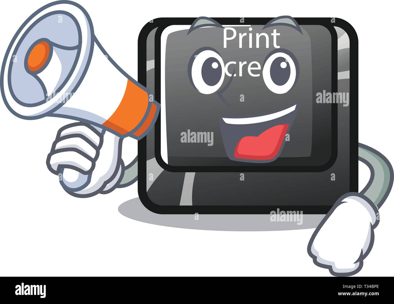 With megaphone button print screen the computer character - Stock Image