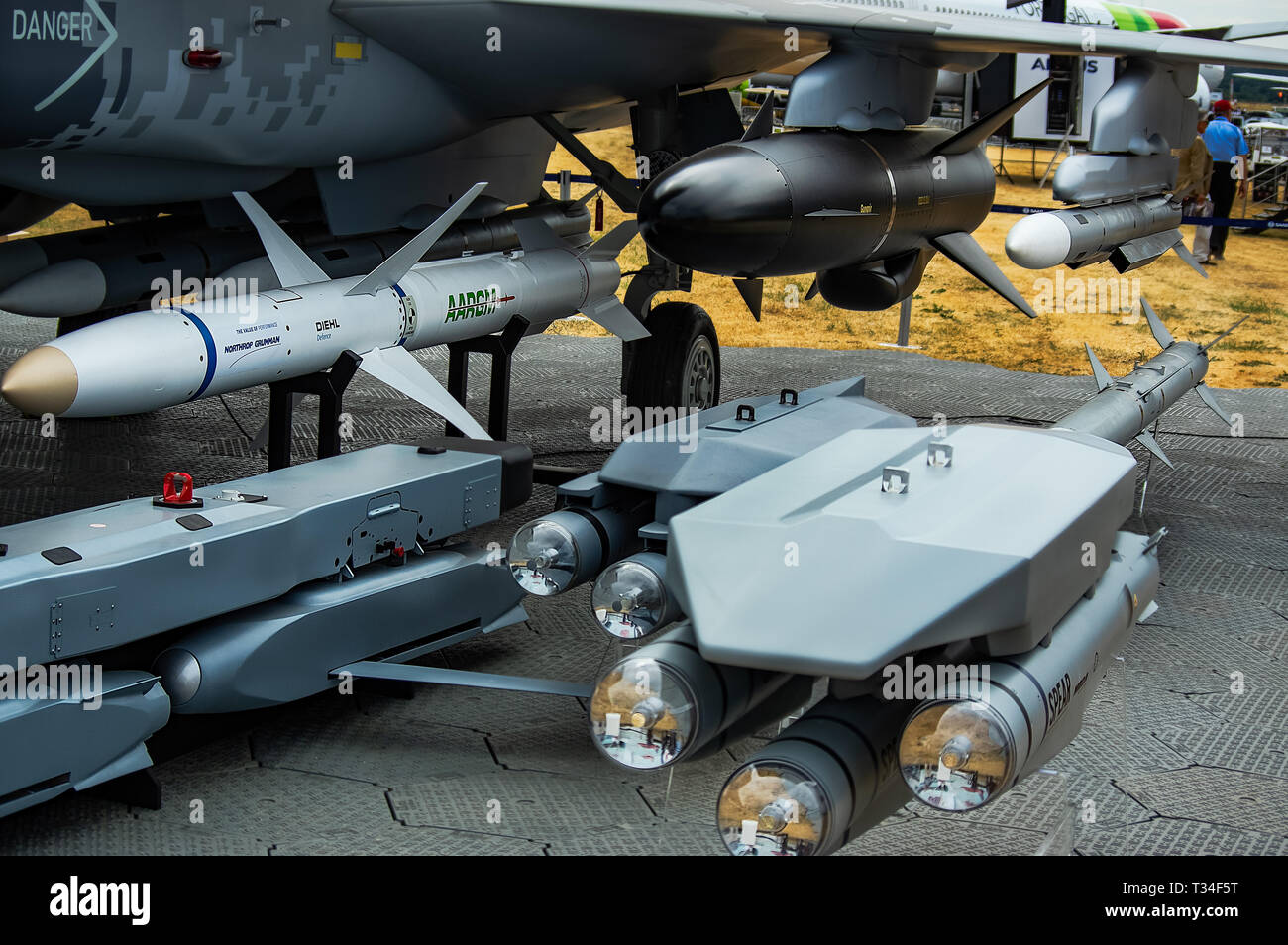 A collection of missiles / armaments on static display at Farnborough air show 2018 - Stock Image