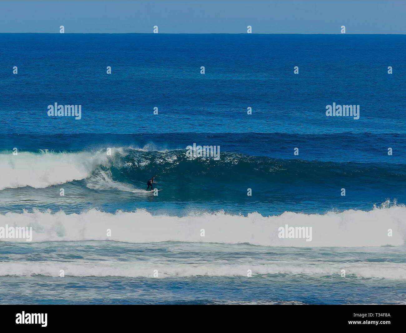 forehand surfer at margaret river in wa - Stock Image