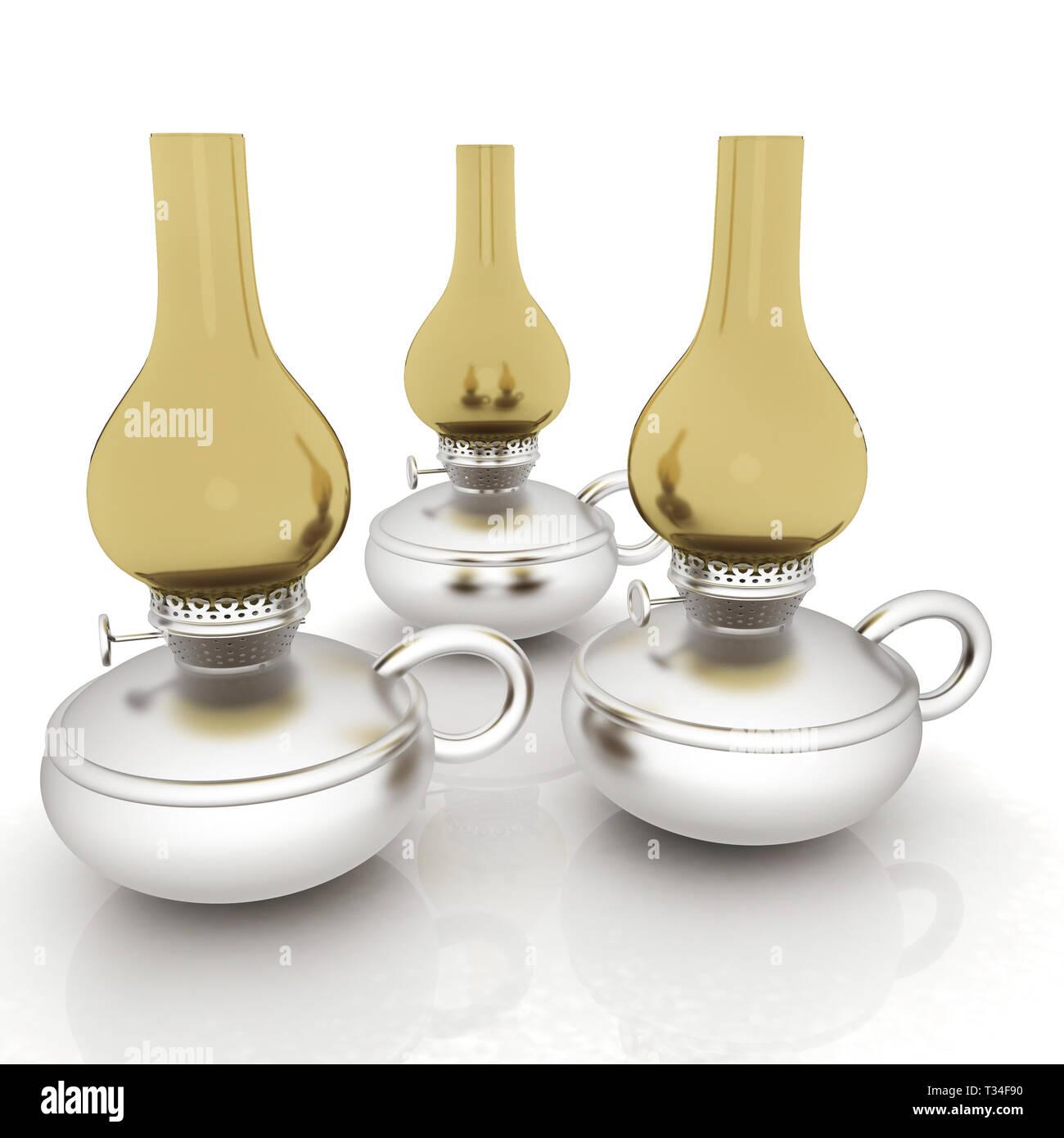 Old retro vintage kerosene lamp. 3d render - Stock Image