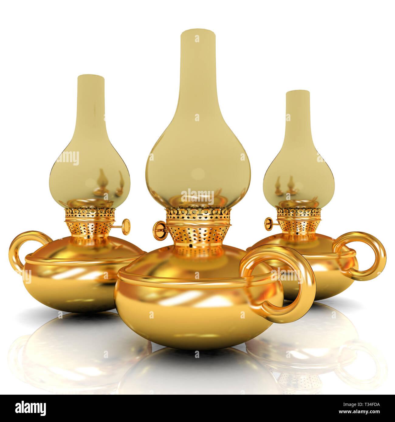 Old retro vintage golden kerosene lamp. 3d render - Stock Image