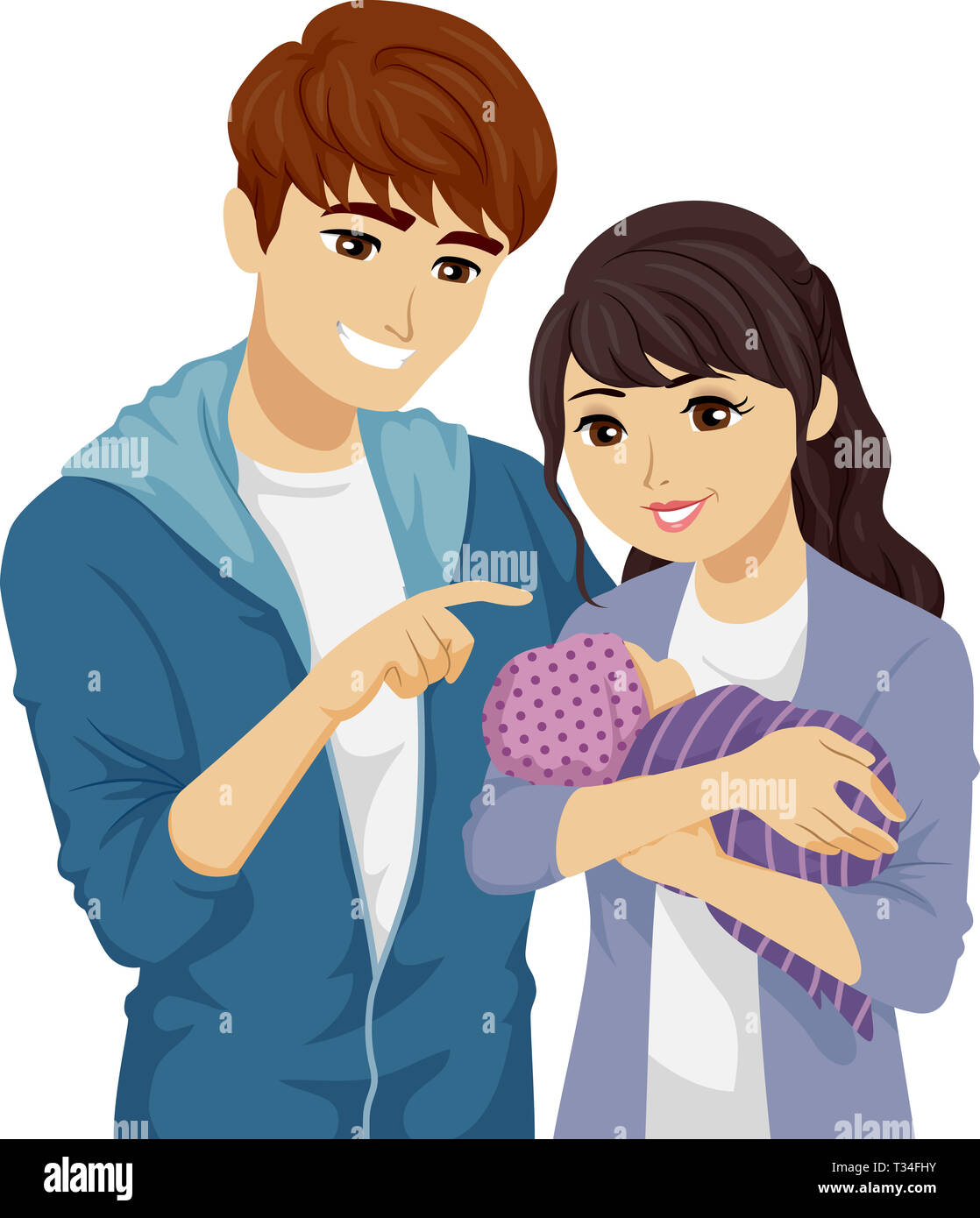 Illustration Of A Young Teenage Girl And Guy Holding Their Baby As First Time Mother And Father Stock Photo Alamy