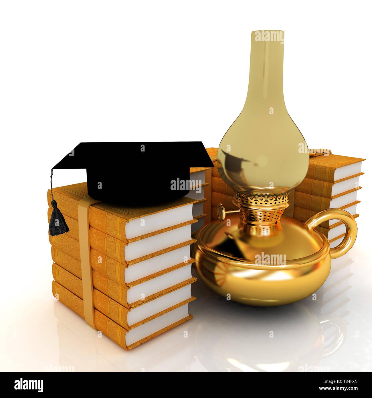 Leather books, kerosene lamp and graduation hat. 3d render - Stock Image