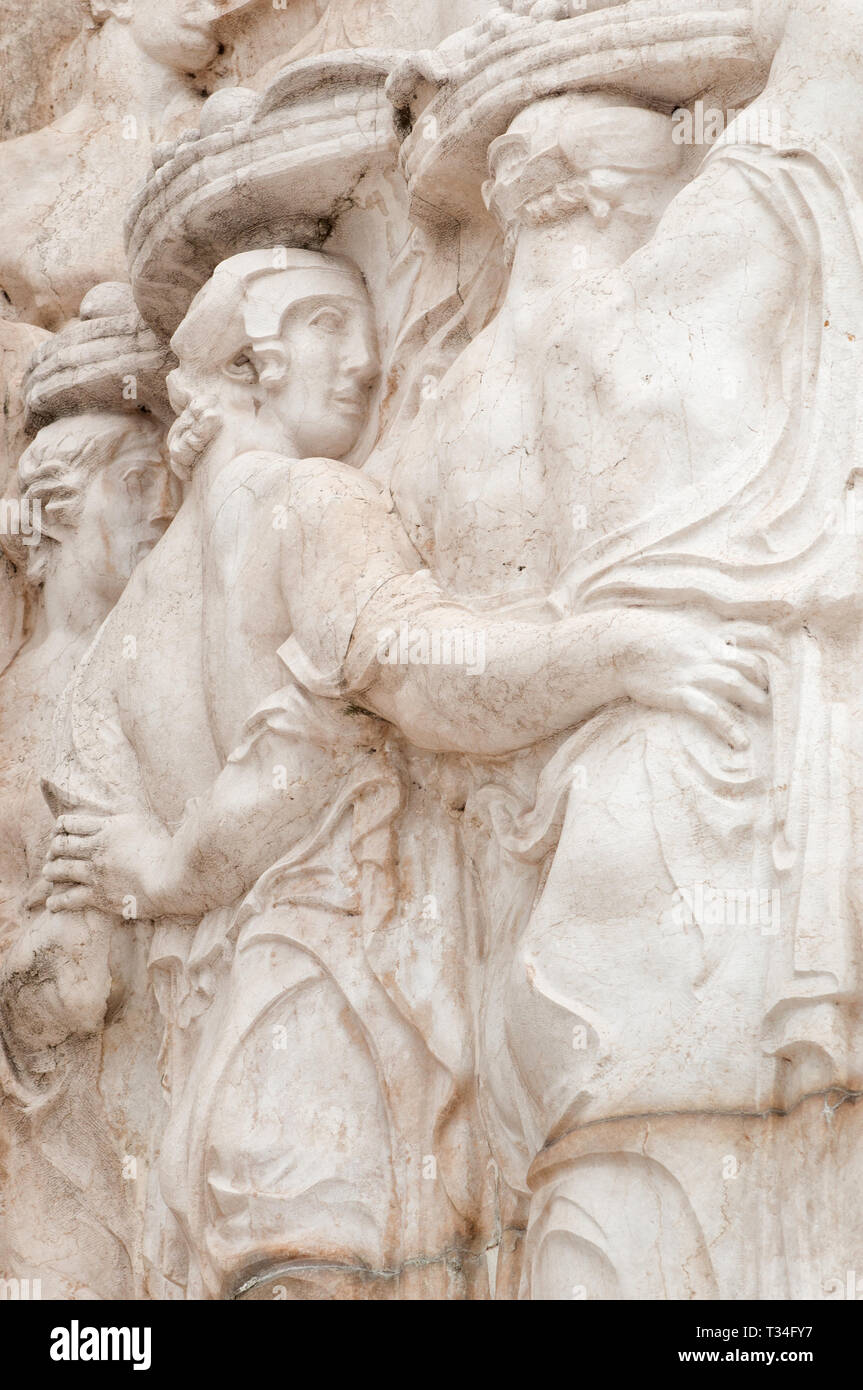 Detail of the monument dedicated to the victory of first World War in rome - Stock Image