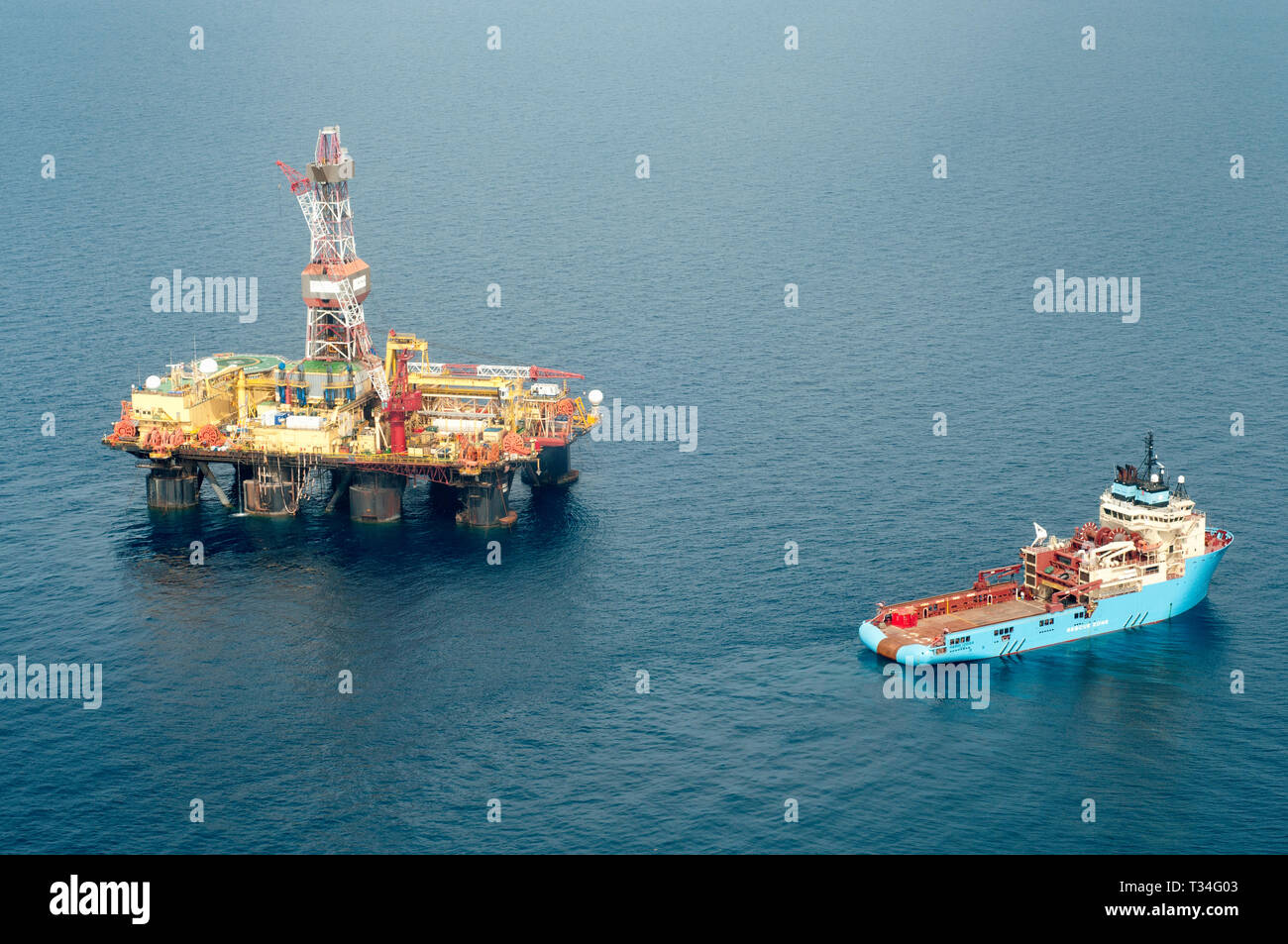 An oil rig offshore Balikpapan, Indonesia Stock Photo