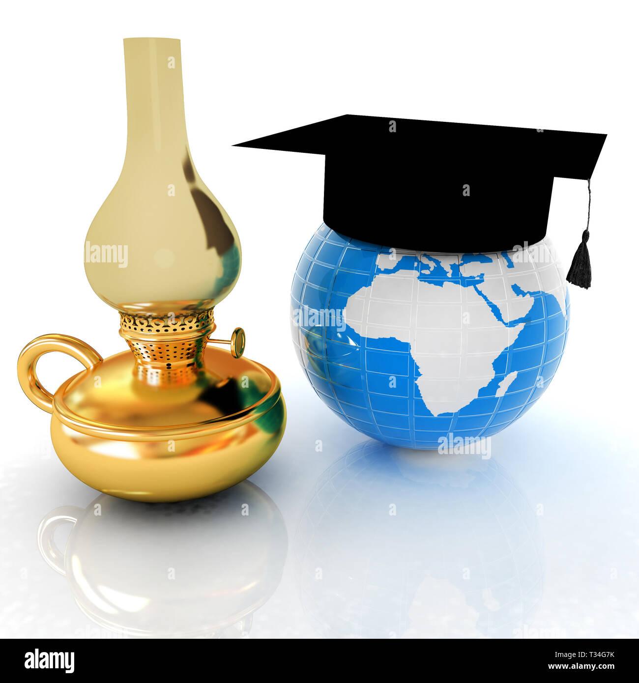 Earth, kerosene lamp and graduation hat. 3d render - Stock Image
